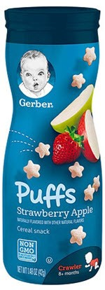 Gerber Graduates Puffs Cereal Snack Strawberry-Apple(1.48 oz )
